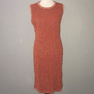 NWT Asos rust gold knit midi dress 16